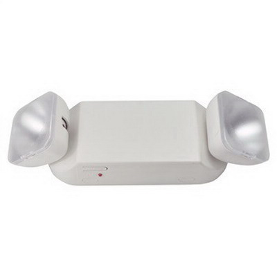 Nora NE-403 Double Head Beveled Emergency Light Fixture; 120/277 Volt AC, 12 Watt, White