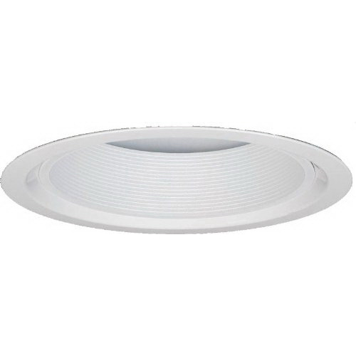 Lithonia Lighting / Acuity 5B1W-R12 1-Light Ceiling Mount Full Reflector 5 Inch Trim With Shallow Baffle; Aluminum, Insulated, White