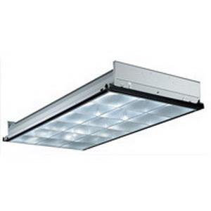 Lithonia Lighting / Acuity PT3-MV 3-Light 18 Cells Static Parabolic Lighting; 96 Watt, High-Gloss Baked White Enamel, Black Reveal, Recessed Mount, Lamp Not Included