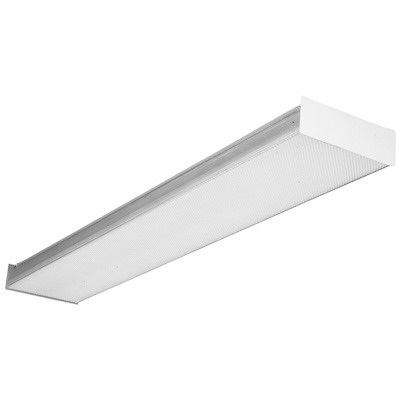 Lithonia Lighting / Acuity SB217 Contractor Select 2-Light Surface/Stem Mount Square-Basket Wraparound Fixture; 17 Watt, Baked White Enamel, Lamp Not Included