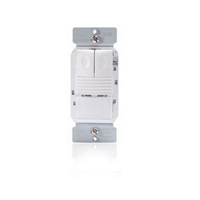Watt Stopper PW-200-W Passive Infrared Dual Relay Occupancy Sensor; 120/277 Volt AC, Automatic On/Off, Manual On/Off, White, Wall Switch Mount, 180 Degree