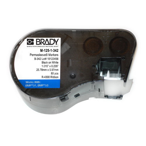 Brady M-125-1-342 Label Maker Cartridge; 0.235 Inch Width x 1.015 Inch Height, Black/White, Heat-Shrink Polyolefin, Contains 80 Labels