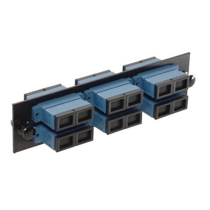 Multi-Link 10-1817 SC/UPC Loaded Fiber Adapter Panel; Singlemode, 6 Duplex Fibers, Blue/Black, 6/Pack