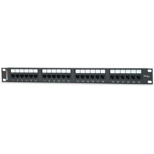 Signamax 24458MD-C5E Category 5e UTP RJ45 Modular Patch Panel; Rack Mount, 4-Pair, 24-Port, 1-Rack Unit, Black