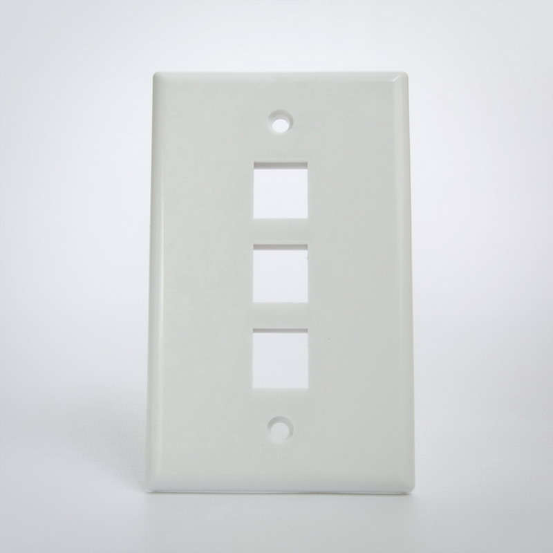 Signamax SKF-3-WH 1-Gang Faceplate; Screw Terminal, (3) Port Keystone, High Impact Thermoplastic, White