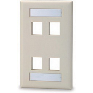 Signamax SKFL-4 1-Gang Faceplate; Screw, (4) Port, High Impact Thermoplastic, Light Ivory