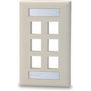Signamax SKFL-6 1-Gang Faceplate; Screw, (6) Port, High Impact Thermoplastic, Light Ivory