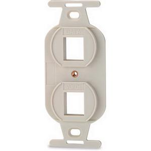 Signamax 106A-2-DI 1-Gang Faceplate; Flush, (2) Port, (2) Keystones, Fire Retardant Thermoplastic, Ivory