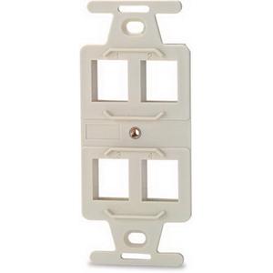 Signamax 106A-4-DI 1-Gang Faceplate; Flush, (4) Port, (4) Keystones, Fire Retardant Thermoplastic, Ivory
