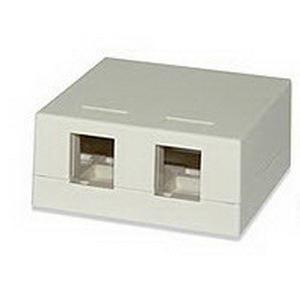 Signamax SMKL-2 Multimedia Box; Surface, (2) Port, Keystone, Fire Retardant Thermoplastic, Light Ivory