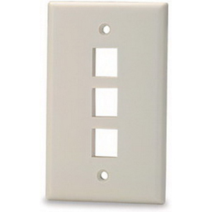 Signamax SKF-3 1-Gang Faceplate; Screw Terminal, (3) Port Keystone, High Impact Thermoplastic, Light Ivory