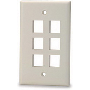 Signamax SKF-6 1-Gang Faceplate; Screw Terminal, (6) Port Keystone, High Impact Thermoplastic, Light Ivory