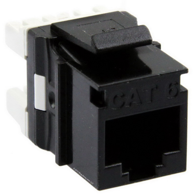 Signamax KJ458MT-C6C-BK MT-Series High-Density Category 6 RJ45 Keystone Jack; Flush Mount, 8P8C, Black