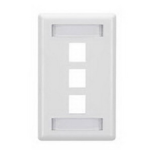 Signamax SKFL-3-WH 1-Gang Faceplate With Labeling Window; Screw, (3) Port, Keystone, High Impact Fire Retardant Thermoplastic, White