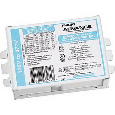 Philips IZT2S26M5BS35M Mark 7 0-10V Electronic Compact Fluorescent Ballast; 120 - 277 Volt, 13 - 55 Watt, 1 Or 2 Lamp, Programmed Rapid Start