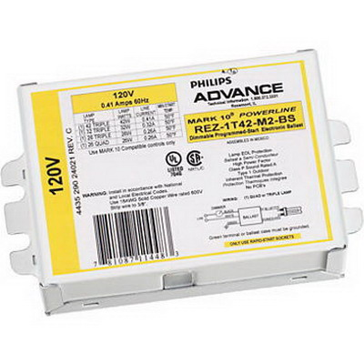 Philips REZ1T42M2LDK Mark 10 Powerline Electronic Compact Fluorescent Ballast; 120 Volt, 10 - 49 Watt, 1-Lamp, Programmed Rapid Start