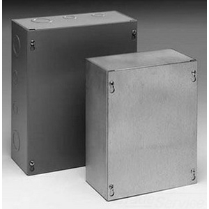Cooper B-Line 663SC Painted Junction Box; 6 Inch Width x 4 Inch Depth x 6 Inch Height, Screw-On Cover, 16 Gauge Steel, ANSI 61 Gray