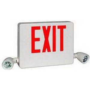 Hubbell Lighting / Dual-Lite HCXURW HCX Series Standard Model Double Head LED Emergency Exit Signs; 120/277 Volt AC, 12 Watt, White, Red Letter