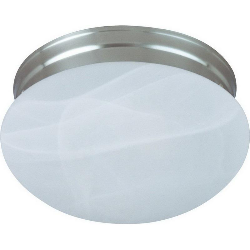 Maxim 5885MRSN Essentials Collection 2-Light Flush Standard Dimmable Incandescent Light Fixture; 60 Watt, 1344 Lumens, Satin Nickel, Lamp Not Included