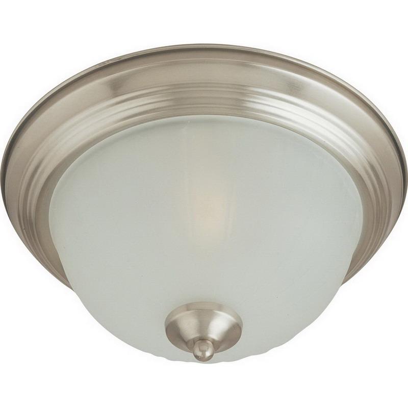 Maxim 5831FTSN Essentials Collection 2-Light Flush Standard Dimmable Incandescent Light Fixture; 60 Watt, 1344 Lumens, Satin Nickel, Lamp Not Included