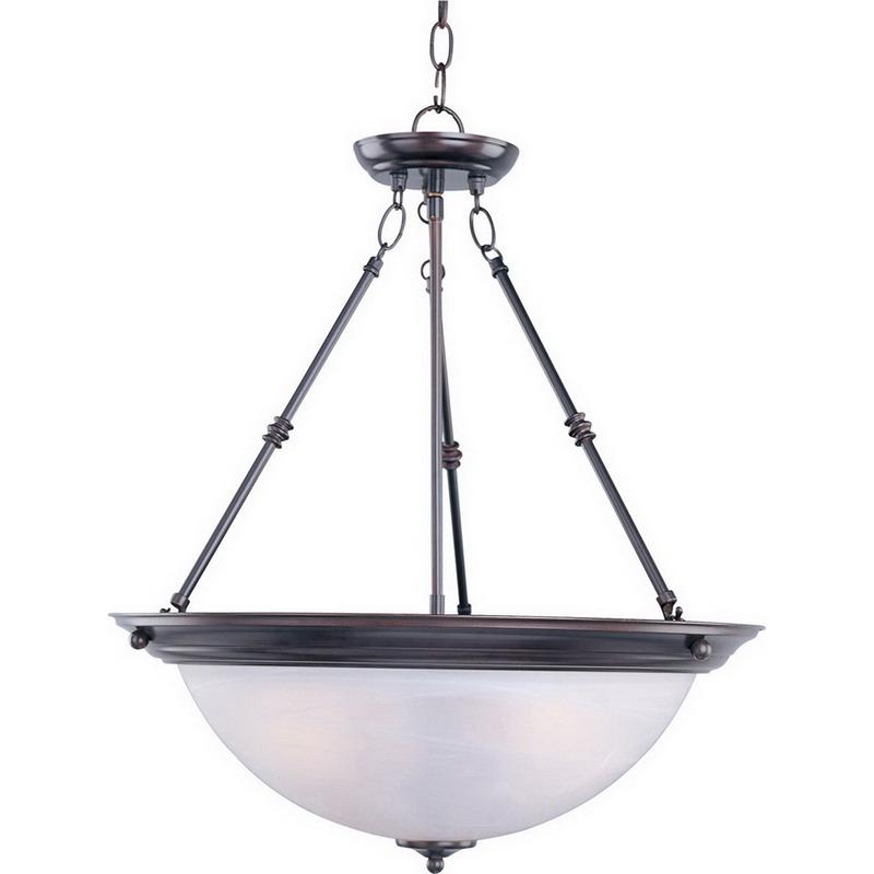 Maxim 5846MROI Essentials Collection Ceiling Invert Bowl Pendant 3-Light Incandescent Fixture; 100 Watt, 3450 Lumens, Marble Shade