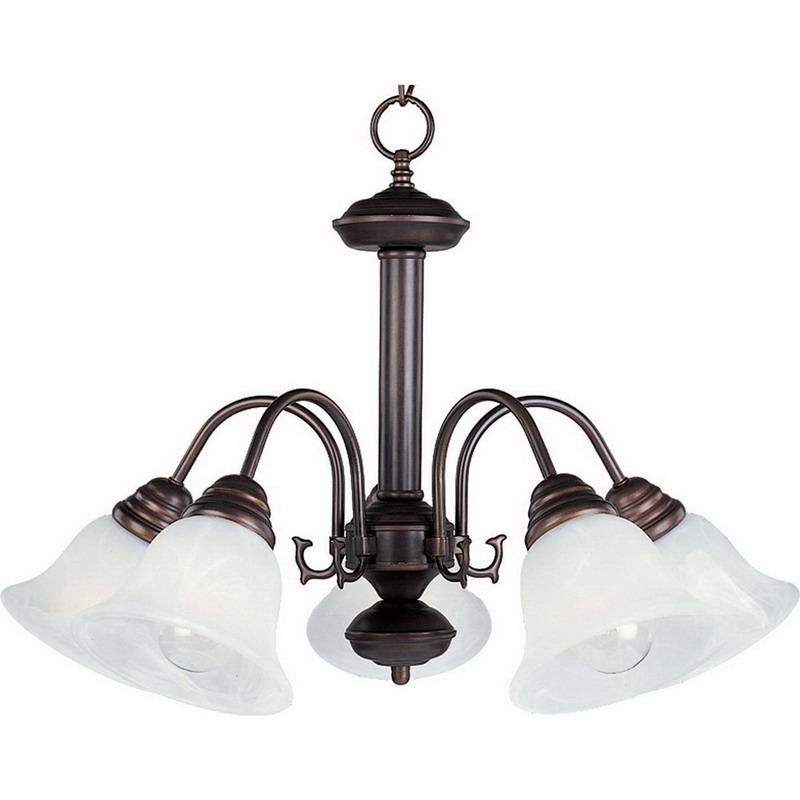 Maxim 2698MROI Malaga Collection Ceiling Downlight 5-Light Incandescent Chandelier; 100 Watt, 5750 Lumens, Oil Rubbed Bronze