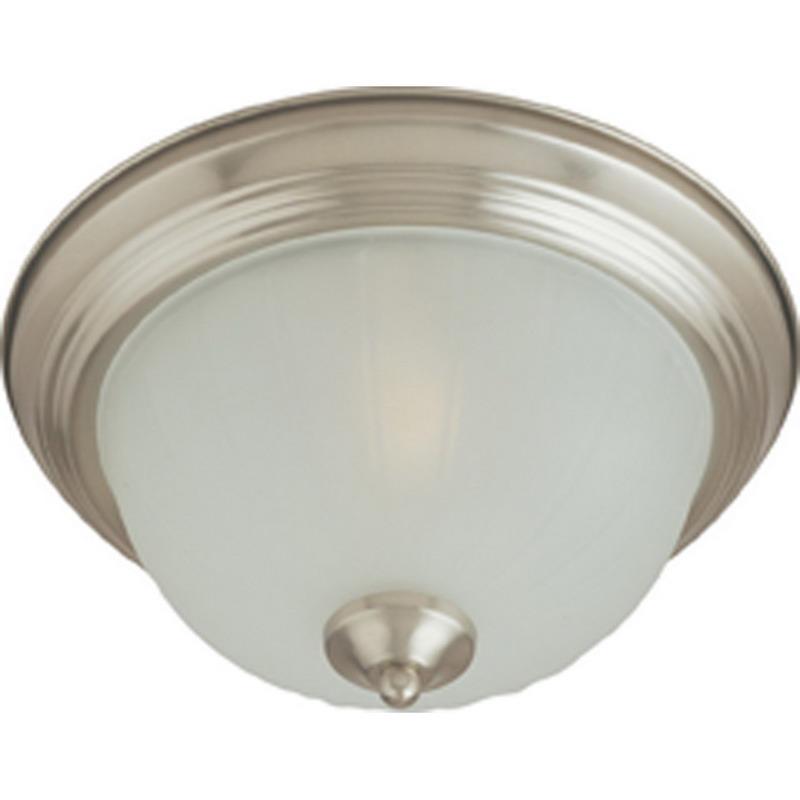 Maxim 5832FTSN Essentials- 583x Collection 3-Light Ceiling Flush Standard Dimmable Incandescent Light Fixture; 60 Watt, 2016 Lumens, Satin Nickel, Lamp Not Included