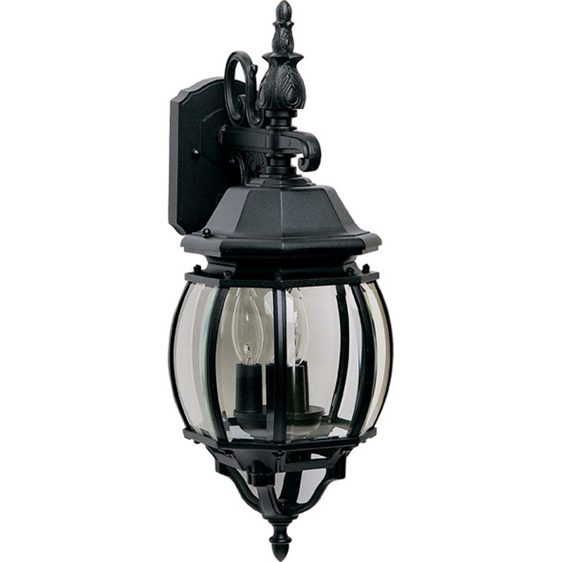 Maxim 1034BK Crown Hill Collection 3-Light Incandescent Outdoor Wall Lantern; 180 Watt, Black, Lamp Not Included