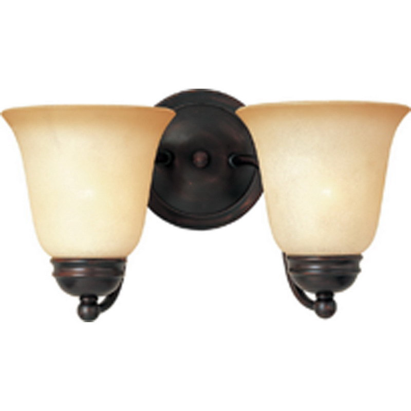 Maxim 2121WSOI Basix Collection 2-Light Incandescent Wall Contemporary Bath Vanity Light Fixture; 100 Watt, 2300 Lumens, Oil Rubbed Bronze