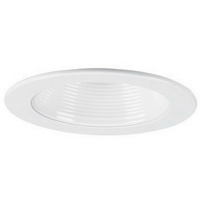 Capri Lighting P4BW 1-Light Ceiling Mount 4 Inch Stepped Baffle Trim; Insulated/Non-Insulated, White Baffle With White Flange