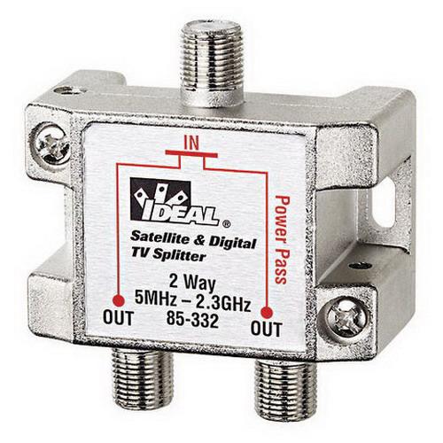 Ideal 85-332 2-Way HD Digital Cable/Satellite Splitter; Screw Mount, 2.3 Giga-Hz