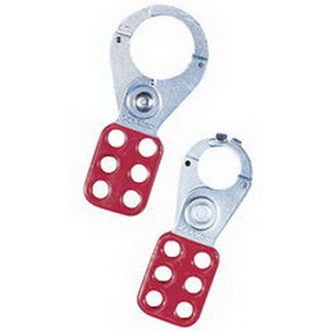 Ideal 44-800 Padlock Safety Lockout Interlocking Hasp With Overlapping Tab; Vinyl/Plated, Red