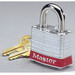 Ideal 44-906 Keyed Alike Master Keyed Safety Padlock; Steel Case With Nickel-Plated Shackle, Red Bumper