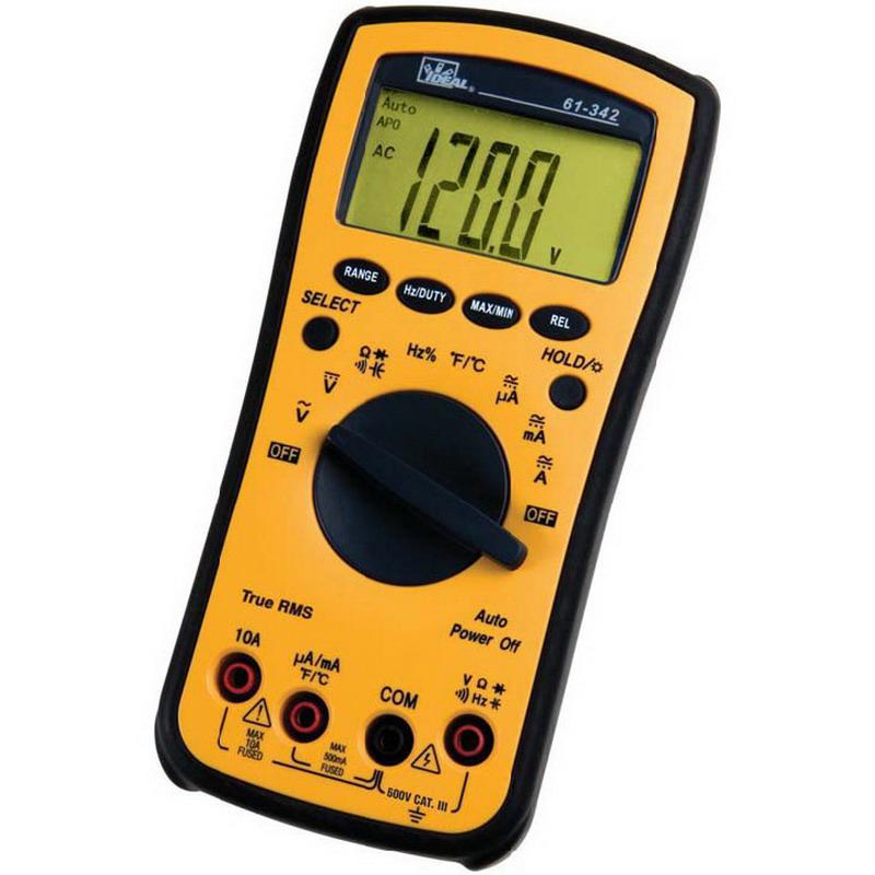 Ideal 61-342 Test-Pro® Multimeter; 400 Milli-Volt/4/40/400/600 Volt AC, 400 Milli-Volt/4/40/400 Volt DC, 400/4/40/400 Micro-Amp, 4.000 kilo-ohm/40.00 kilo-ohm/400.0 kilo-ohm