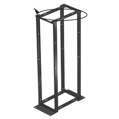 Hoffman E4DRS19FM45U Adjustable Depth Knockdown 4-Post Open Frame Rack; Floor Mount, 45-Rack Unit, RAL 9005 Black