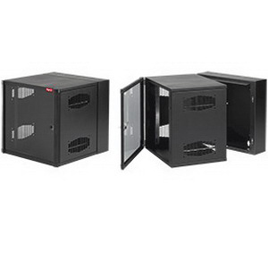 Hoffman EWMW482425 Accessplus II Type 1 Window Door Double-Hinged Data Cabinet; Wall Mount, 26-Rack Unit, Black