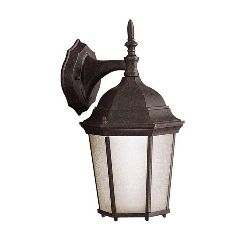 Kichler 9650TZ Madison Collection 1-Light Incandescent/Fluorescent Outdoor Wall Fixture Lantern; 100 Watt, Tannery Bronze, Clear Glass, Lamp Not Included