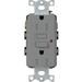 Lutron CAR-15-GFTR-GR Claro® Satin Colors® Tamper-Resistant GFCI Receptacle; Wallbox Mount, 125 Volt, 15 Amp, Gray