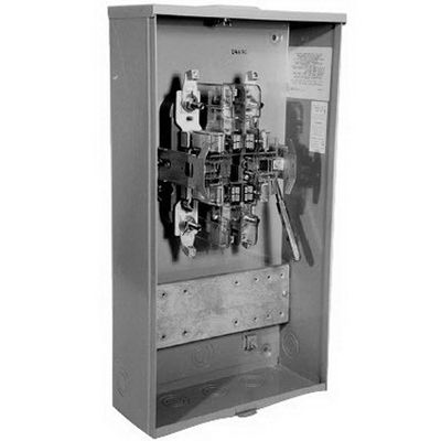 Milbank U4496-ZL-WC-41 Lever Bypass CT Rated Socket; 600 Volt AC, 80 Amp, G90 Galvanized Steel, 3 Phase, Surface Mount