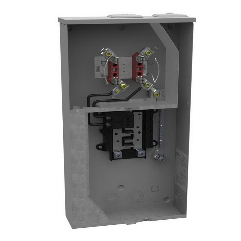 Milbank U5168-XTL-100 Meter Main With Load Center; 100 Amp, G90 Galvanized Steel/5052 Aluminum