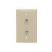 On-Q TPCATV2-I 1-Gang Standard Wallplate; Wall, (2) F-Type Connector, Nickel, Ivory