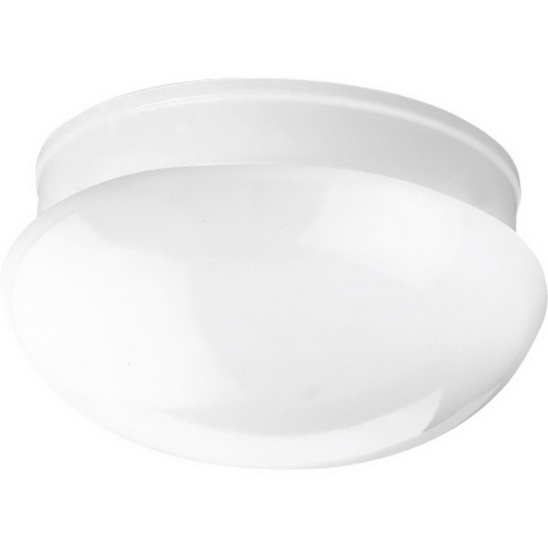 Progress Lighting P3410-30 Fitter Collection 2-Light Close-To-Ceiling Incandescent Light Fixture; 60 Watt, White, Lamp Not Included