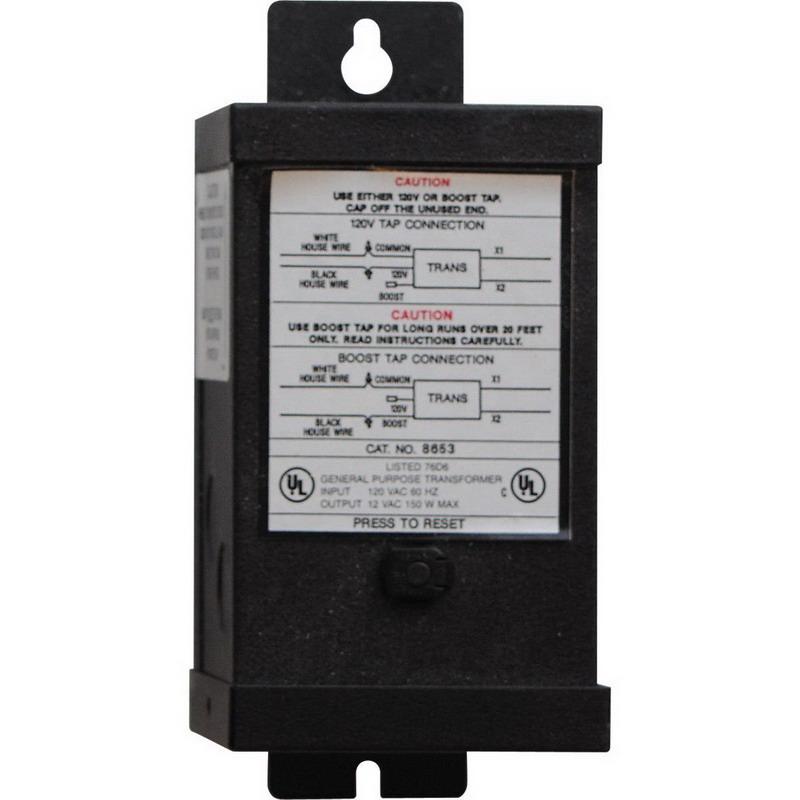 Progress Lighting P8653-31 Horizontal/Vertical Hide-a-Lite Family Transformer; 150 Watt, 12 Volt, Black