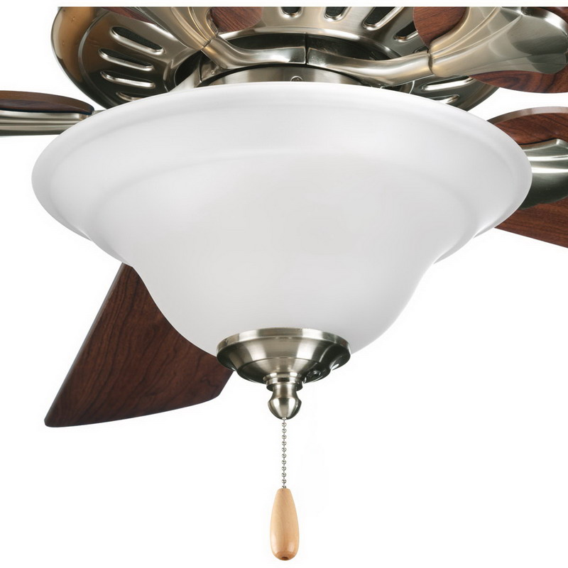 Progress Lighting P2628-09 Trinity Collection Ceiling Fan Light Kit; Brushed Nickel, (3) 40 Watt Incandescent, Lamp Included