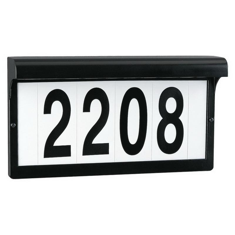 Sea Gull 9600-12 Address Light Collection Address Light Fixture; Die-Cast Aluminum, Black, Clear Lens