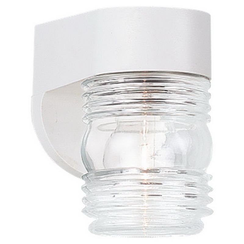 Sea Gull 8750-15 1-Light Small Lantern Outdoor Wall Fixture; 60 Watt, Clear Beveled Shade, Black Body, Lamp Not Included