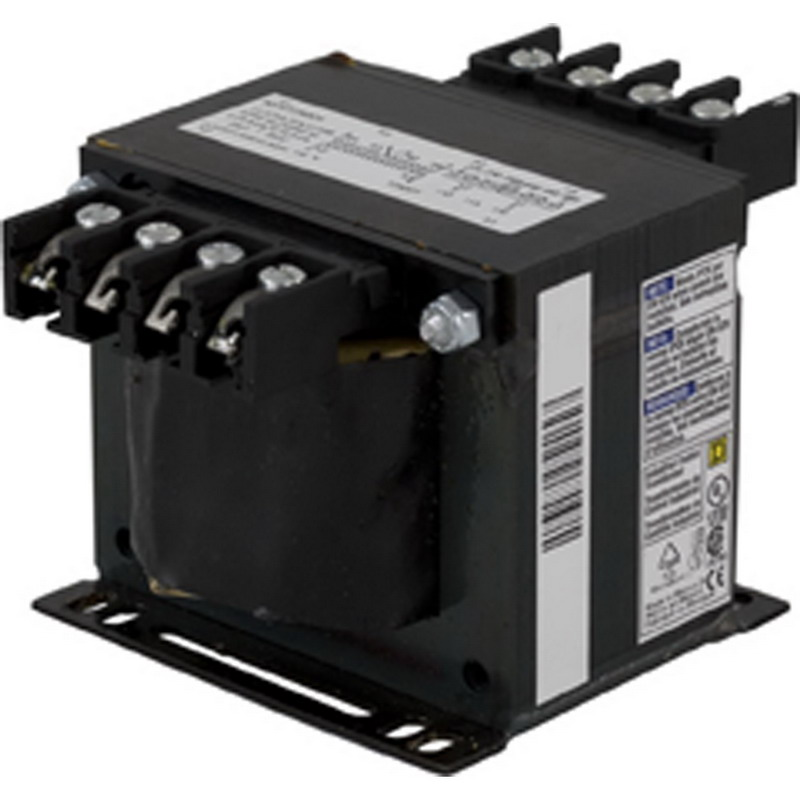 Schneider Electric / Square D 9070T250D3 Industrial Control Transformer; 208 Volt Primary, 120 Volt Secondary, 250 VA, 1 Phase, Screw Clamp Terminal