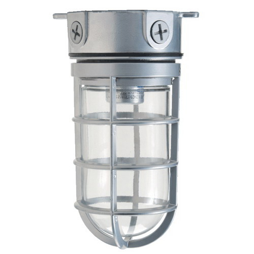 Hubbell Lighting VBGG-150 Hubbell Outdoor Vapor Tight Light Fixture With Guard and Globe; 150 Watt, Clear Globe, Platinum Silver