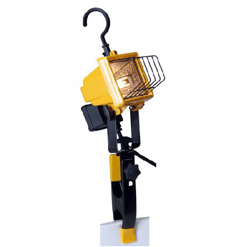 Hubbell Lighting QWL-150C Quartz Flood Work Light; 120 Volt, 150 Watt, Die-Cast Aluminum Housing, Safety Yellow Stand