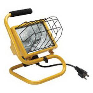 Hubbell Lighting QWL-500S Quartz Flood Work Light; 120 Volt, 500/300 Watt, Die-Cast Aluminum Housing, Safety Yellow Stand